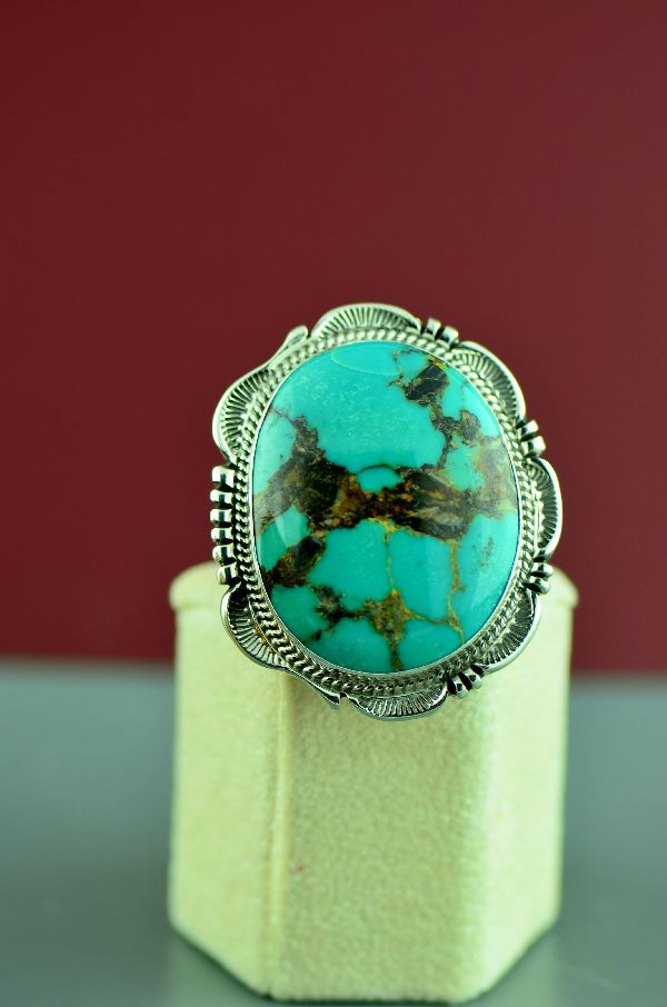 Navajo – Sterling Silver Royston Turquoise Ring by Will Denetdale Size 7
