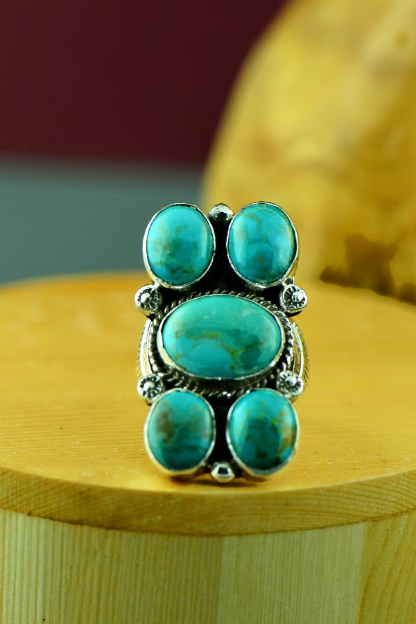 Navajo – Sterling Silver Kingman Turquoise Ring by Will Denetdale Size 6