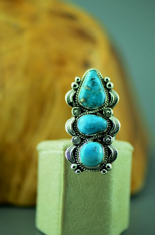 Navajo – Sterling Silver Three Stone Bisbee Turquoise Ring by Will Denetdale Size 7