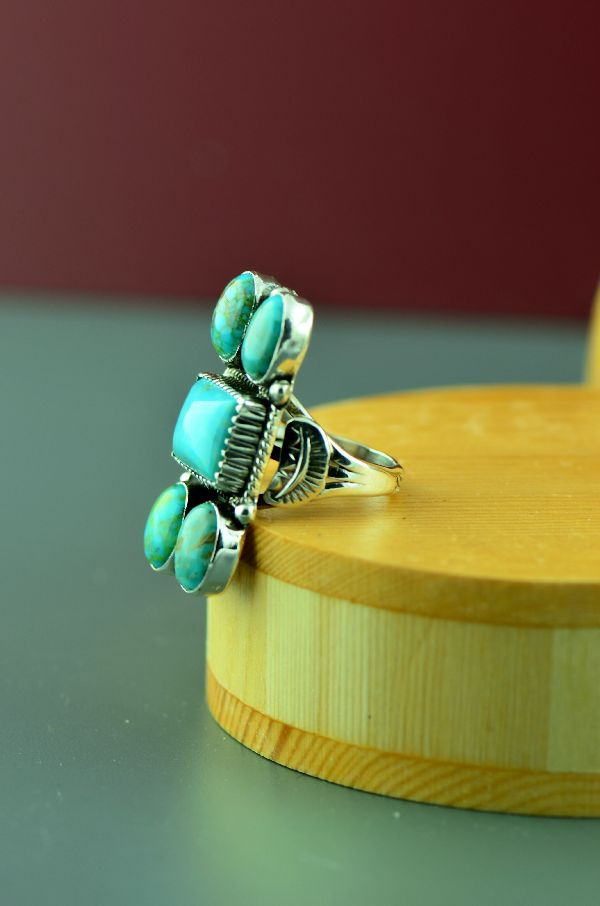 Navajo – Sterling Silver Kingman Turquoise Ring by Will Denetdale Size 7
