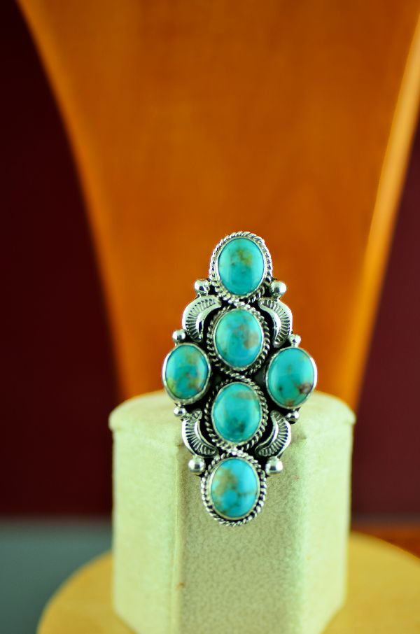 Navajo – Sterling Silver High Grade Kingman Turquoise Ring by Will Denetdale Size 7