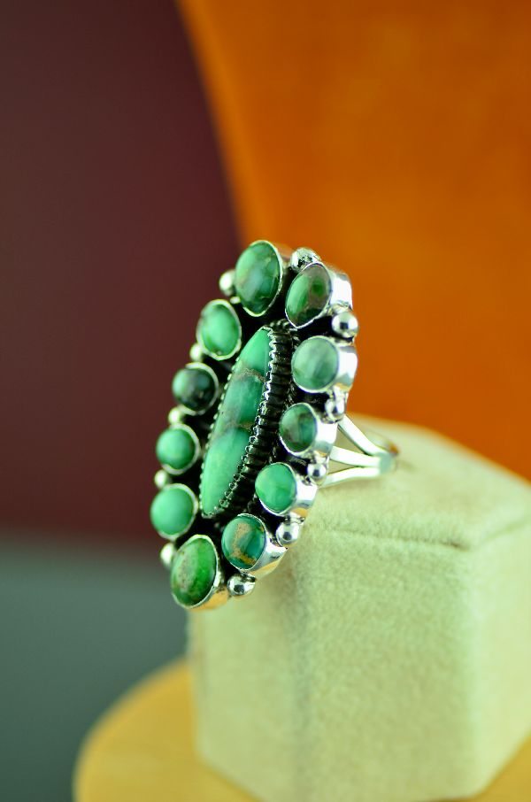 Navajo – Sterling Silver High Grade Damale Turquoise Cluster Ring by Will Denetdale Size 8 1/4