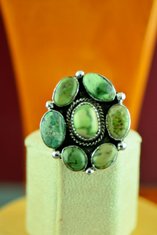 Navajo – Sterling Silver High Grade Damale Turquoise Cluster Ring by Will Denetdale Size 8
