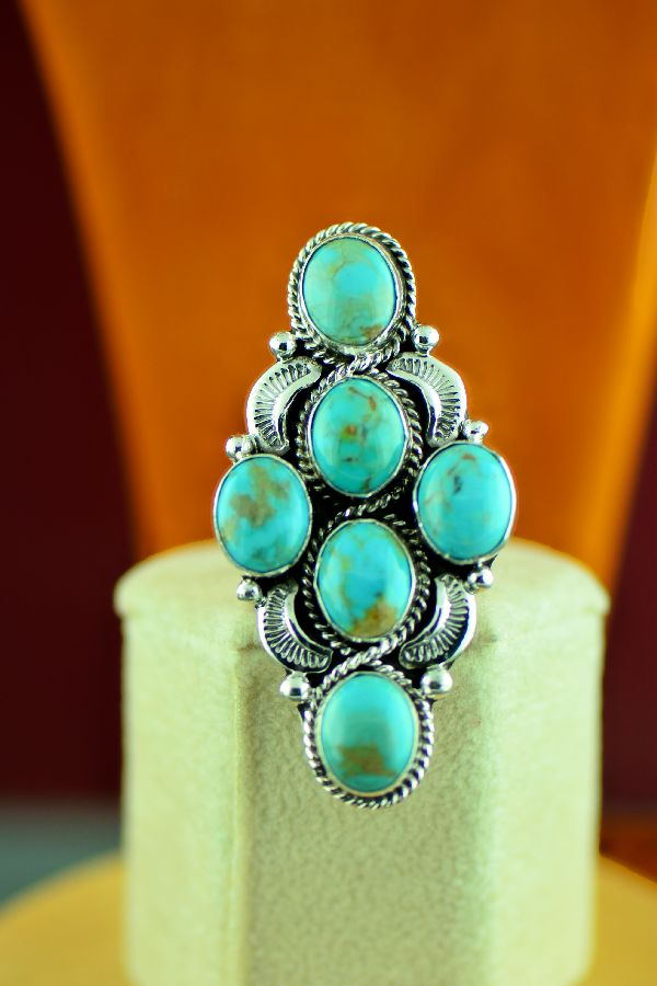 Navajo – Sterling Silver High Grade Kingman Turquoise Ring by Will Denetdale Size 7 1/2