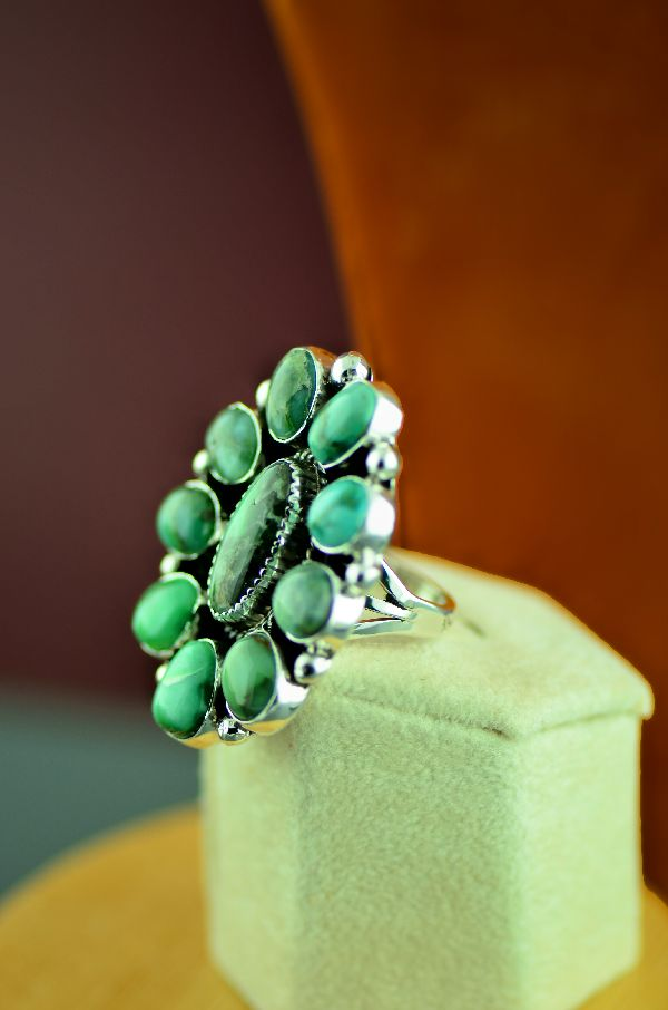 Navajo – Sterling Silver High Grade Damale Turquoise Cluster Ring by Will Denetdale Size 8 1/2