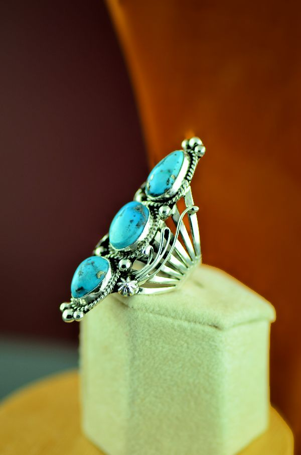 Navajo – Sterling Silver High Grade Morenci Turquoise Ring by Will Denetdale Size 6 1/2
