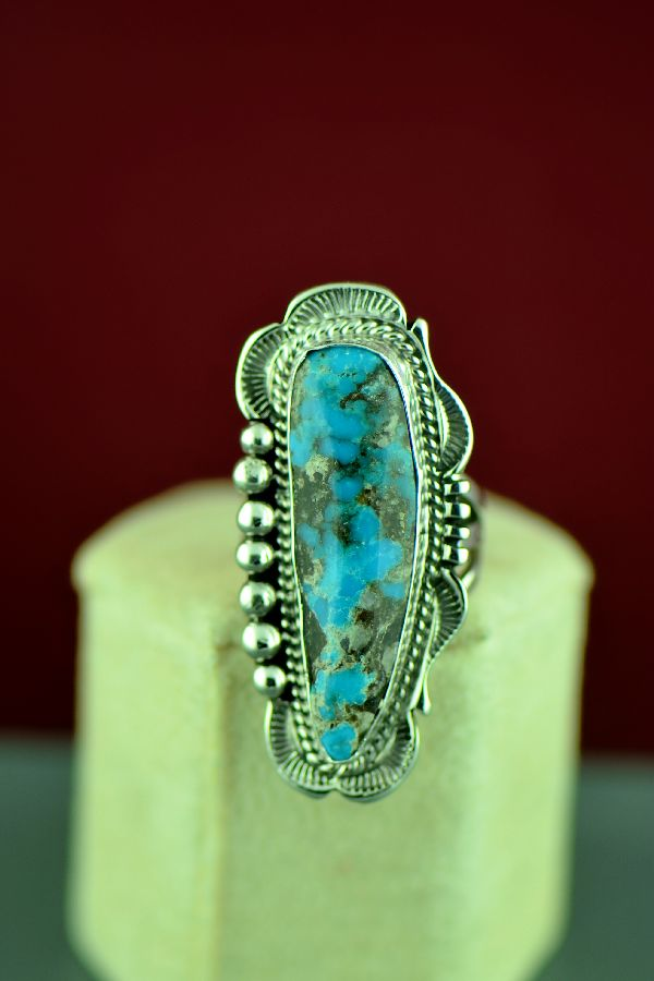 Will Denetdale Sterling Silver Kingman Turquoise Ring Size 7