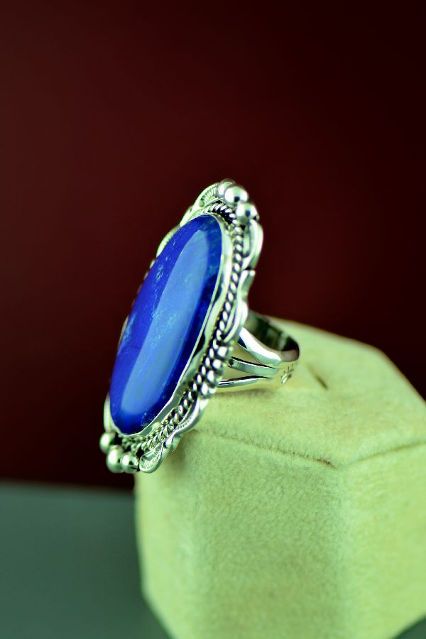 Navajo – Sterling Silver Lapis Ring by Will Denetdale Size 6 1/4
