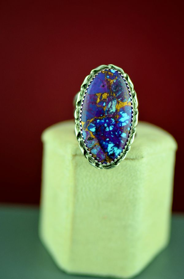 Navajo – Sterling Silver Mohave Purple Turquoise Ring by Garrison Boyd Size 7 1/2