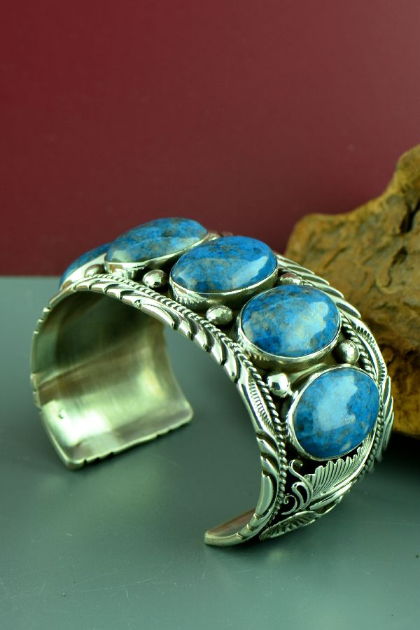 Navajo – Exquisite Heavy Weight Sterling Silver Denim Lapis Bracelet by Will Denetdale (From a Private Collection)