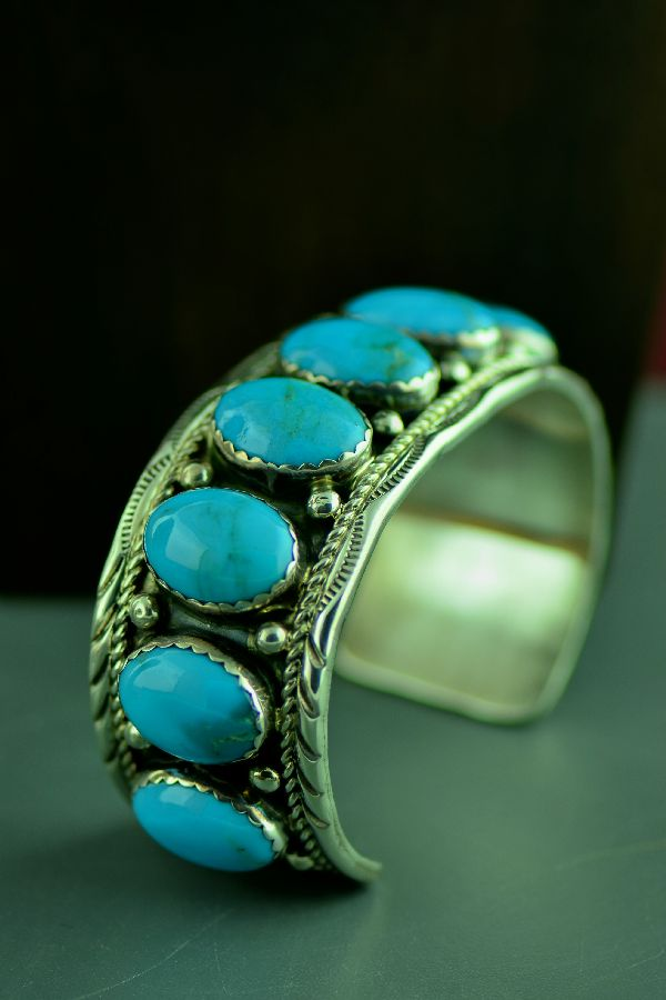 Navajo Exquisite Heavy Weight Sterling Silver High Grade Bisbee Turquoise Bracelet by Loren Begay (From a Private Collection)