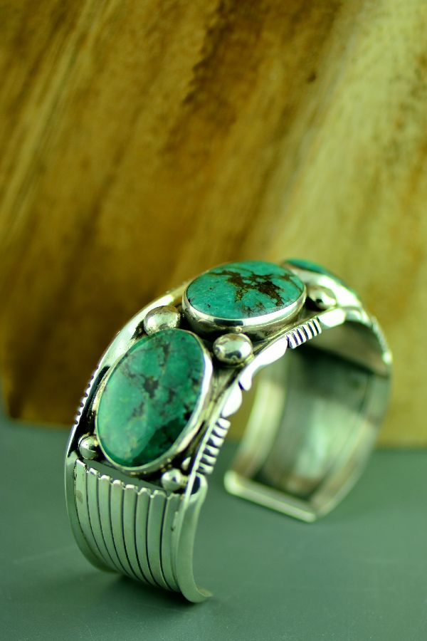Navajo Exquisite Heavy Weight Sterling Silver Ajax Turquoise Bracelet by Will Denetdale (From a Private Collection)