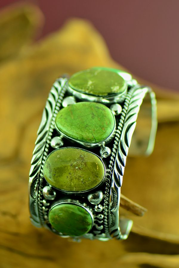 Navajo Exquisite Heavy Weight Sterling Silver Emerald Valley Turquoise Bracelet by Will Denetdale (From a Private Collection)