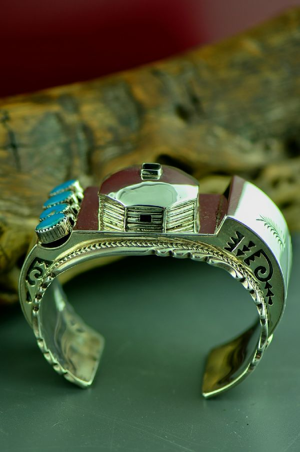 Navajo Museum Quality Heavy Weight Sterling Silver High Grade Morenci Turquoise Bracelet by Harrison Boyd (From a Private Collection)