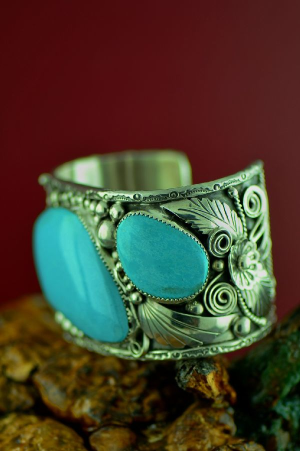 Navajo Exquisite Heavy Weight Sterling Silver Castle Dome Turquoise Bracelet (From a Private Collection)