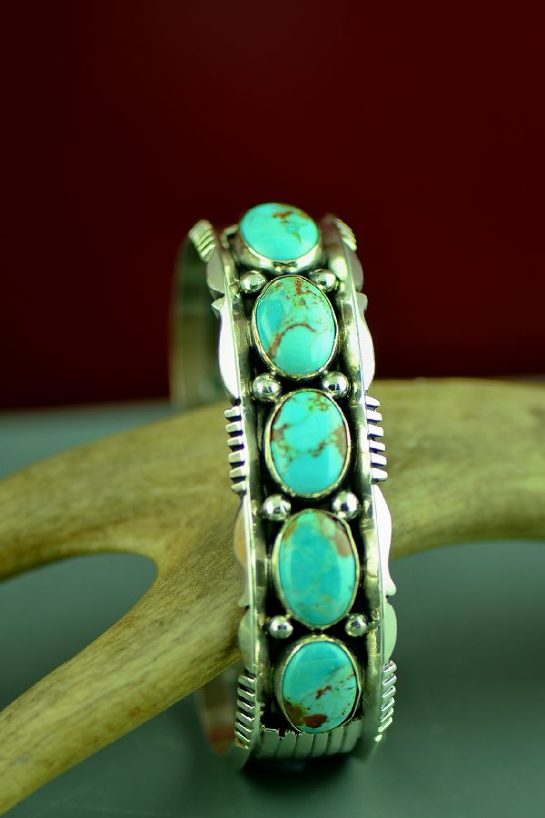 Navajo Sterling Silver Kingman Turquoise Bracelet by Will Denetdale (From a Private Collection)