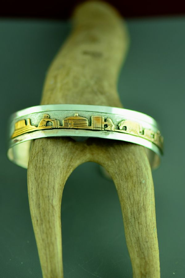 Navajo 12ktGF and Sterling Silver Story Bracelet by Jacob Kahe
