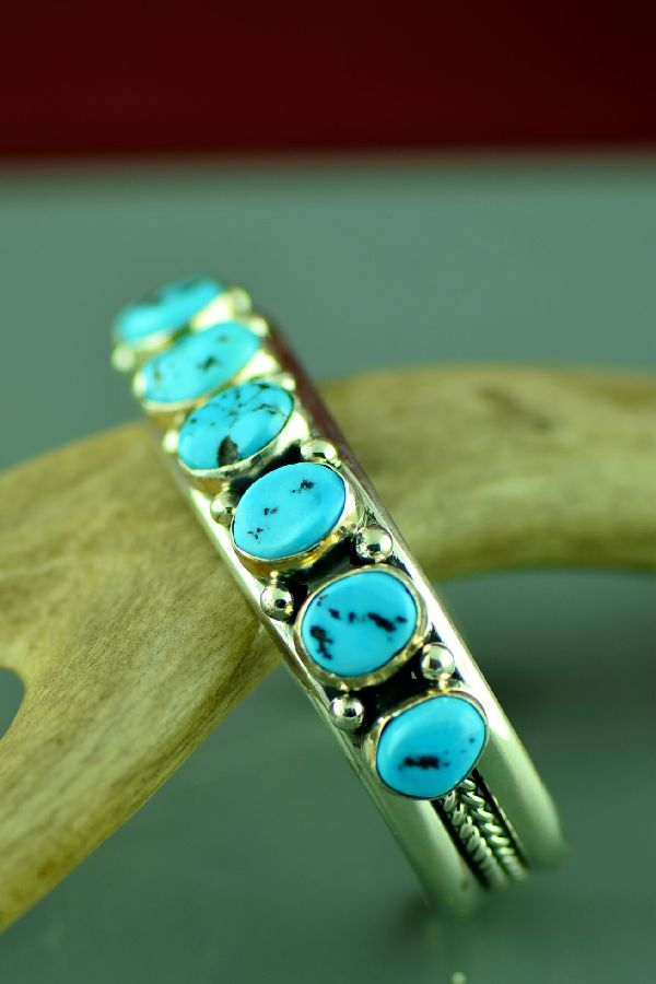 Navajo Exquisite Sterling Silver High Grade Sleeping Beauty Turquoise Bracelet by Will Denetdale