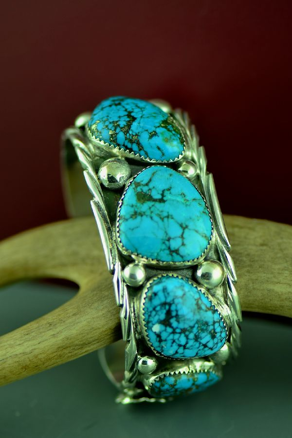 Navajo Heavy Weight Sterling Silver Kingman Turquoise Bracelet (From a Private Collection)