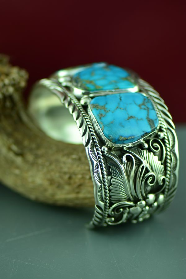 Navajo Phenomenal Heavy Weight Sterling Silver Blue Gem Turquoise Bracelet by Will Denetdale (From a Private Collection)