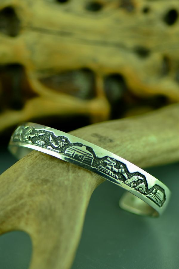 American Indian Sterling Silver Story Bracelet