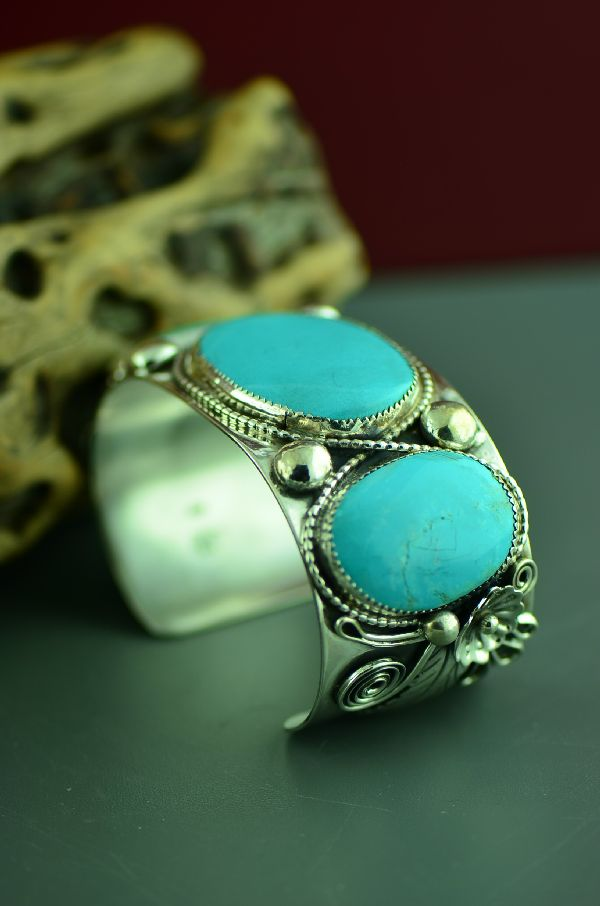 Navajo Heavy Weight Sterling Silver Sleeping Beauty Turquoise Bracelet (From a Private Collection)