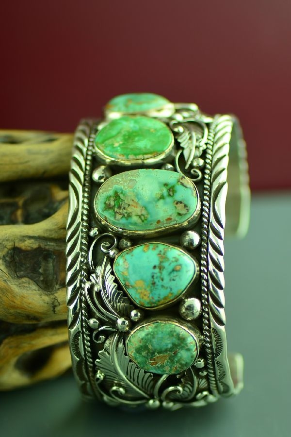 Navajo High Grade Royston Turquoise Bracelet by Will Denetdale