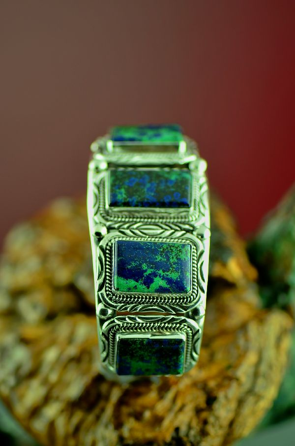 Native American Phenomenal Malachite Azurite Bracelet by Will Denetdale (From a Private Collection)