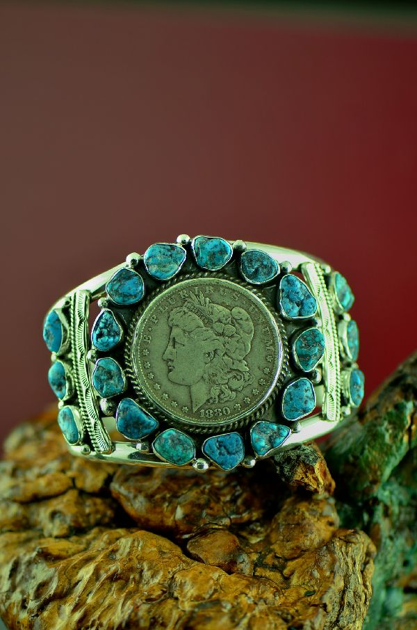 Will Denetdale High Grade Natural Kingman Turquoise Cluster Bracelet with 1880 Silver Dollar (Private Collection)