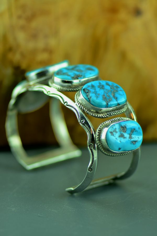 Navajo – Exquisite Heavy Weight Sterling Silver Sleeping Beauty Turquoise Bracelet (From a Private Collection) 1960's Circa