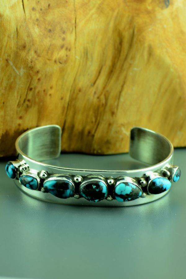 Navajo � Exquisite Sterling Silver High Grade Paiute Turquoise Bracelet by M. Bennett