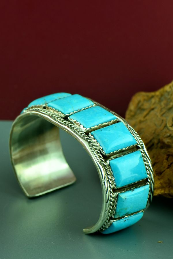 Navajo – Exquisite Heavy Weight Sterling Silver High Grade Morenci Turquoise Bracelet by Loren Begay (From a Private Collection)