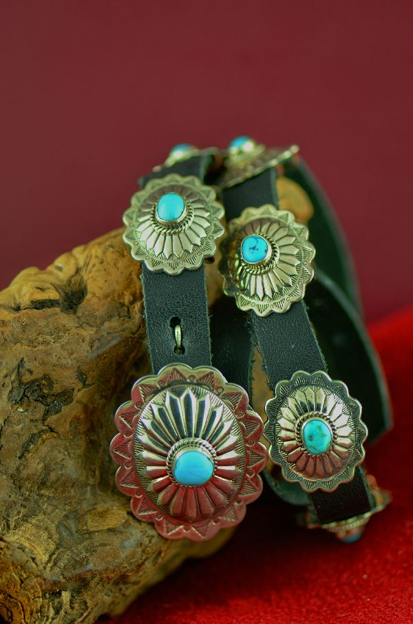 Navajo – Exquisite Sterling Silver Morenci Turquoise Concho Hat Band by Will Denetdale (From a Private Collection)