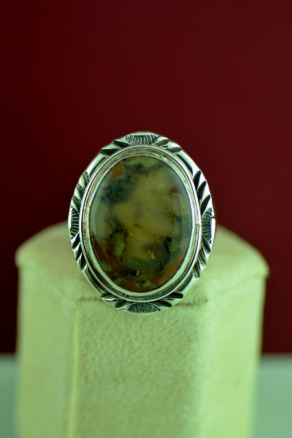 Navajo – Sterling Silver Moss Agate Ring by Will Denetdale Size 9 3/4