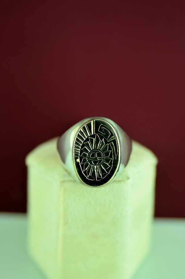 Navajo – 14KT Gold and Sterling Sunface Ring by Calvin Peterson Size 12 1/2
