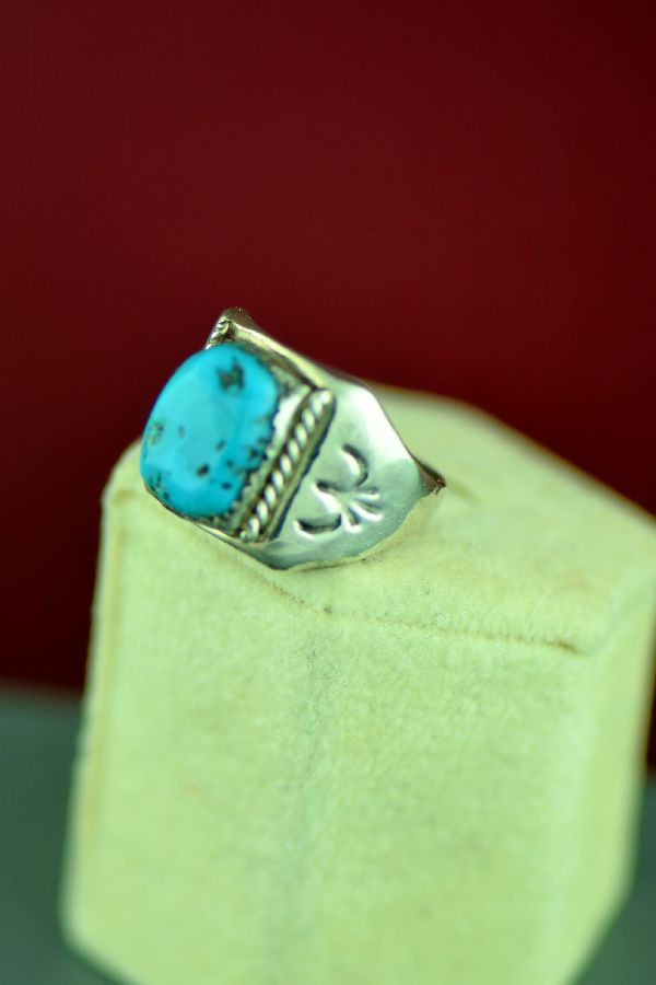 Navajo – Sterling Silver Kingman Turquoise Ring Will Denetdale Size 8