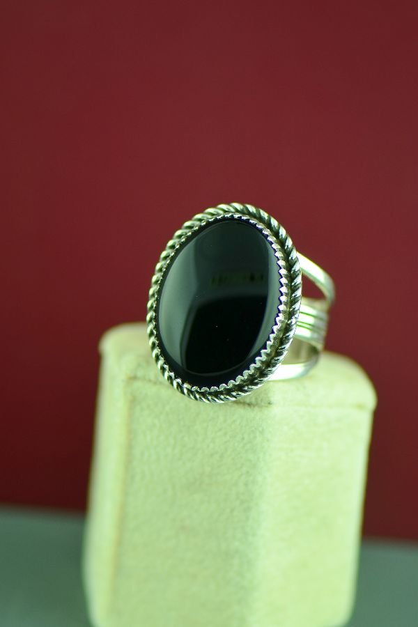 Navajo – Black Onyx Sterling Silver Ring by Garrison Boyd Size 13