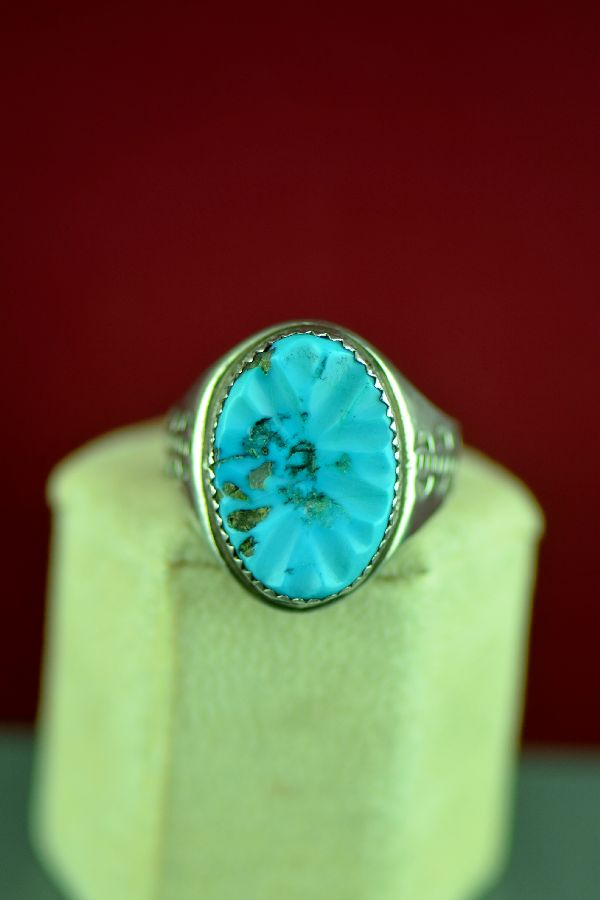 Zuni – Sterling Silver Sleeping Beauty Turquoise Ring Size 12 1/2