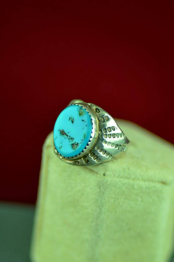 Navajo – Sterling Silver Kingman Turquoise Ring Will Denetdale Size 7 1/4
