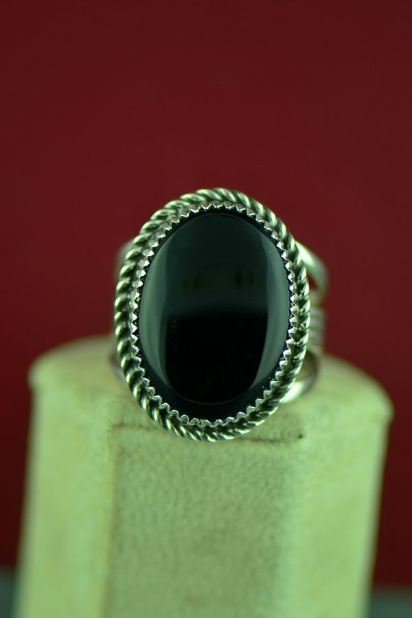 Navajo Black Onyx Sterling Silver Ring by Garrison Boyd Size 12 3/4
