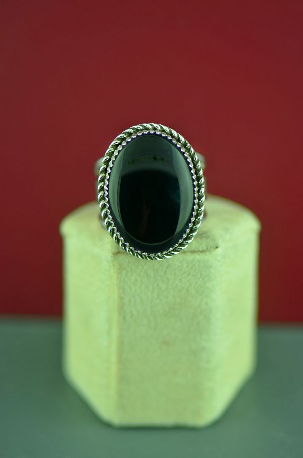 Mans Black Onyx Ring American Indian
