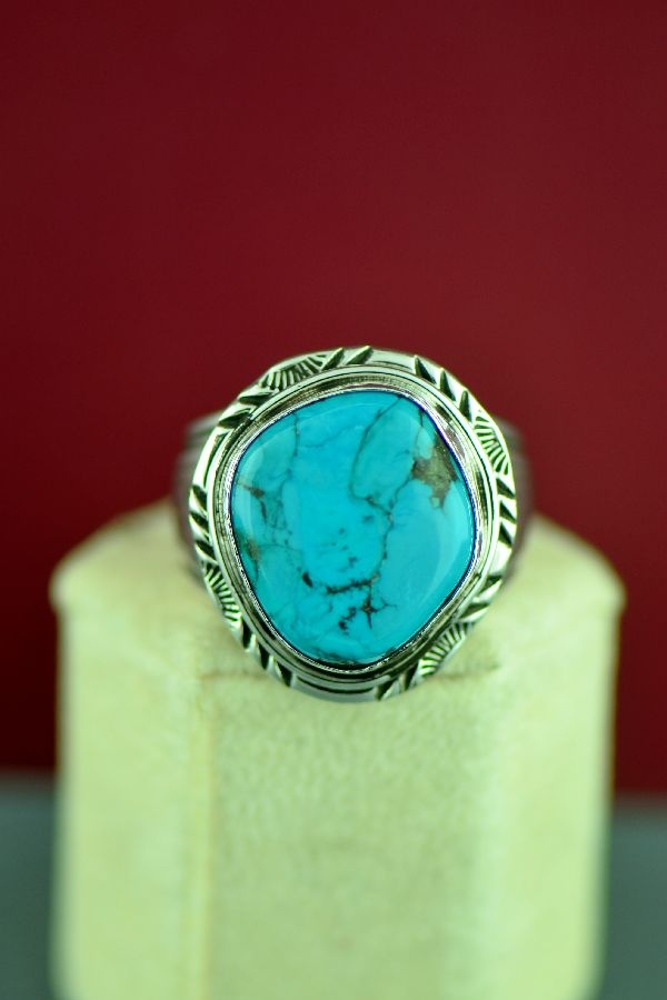 Navajo Sterling Silver Kingman Turquoise Ring by Will Denetdale Size 14