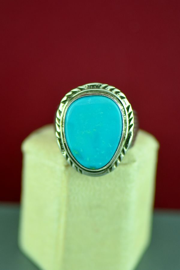 Navajo Sterling Silver Blue Gem Turquoise Ring by Will Denetdale Size 13
