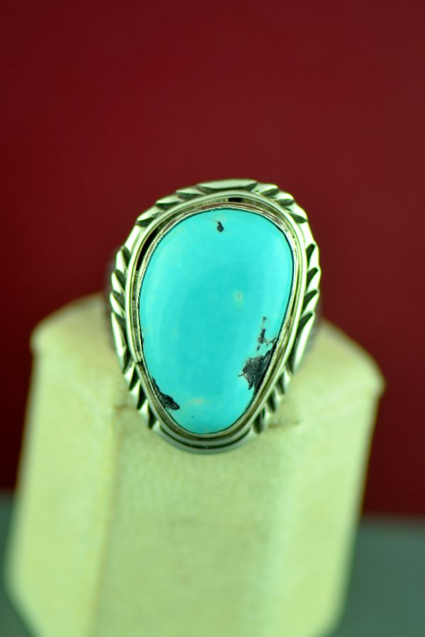 Navajo Sterling Silver Blue Moon Turquoise Ring by Will Denetdale Size 13