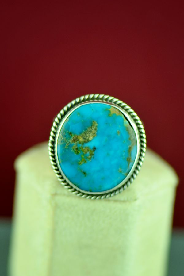 Navajo Sterling Silver Morenci Turquoise Ring by Will Denetdale Size 11