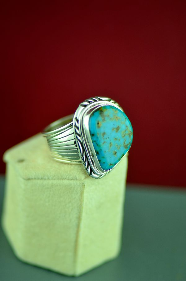 Navajo Sterling Silver Blue Royston Turquoise Ring by Will Denetdale Size 14