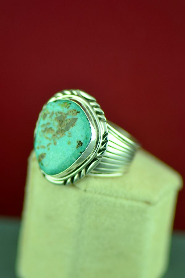 Navajo Sterling Silver Fox Turquoise Ring by Will Denetdale Size 13 1/2