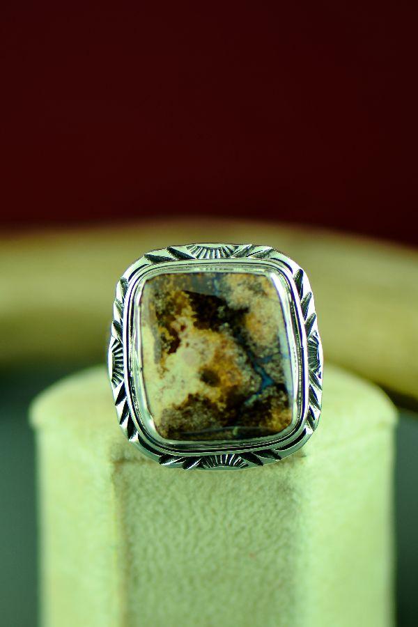 Navajo Sterling Silver Australian Boulder Opal Ring by Will Denetdale Size 10