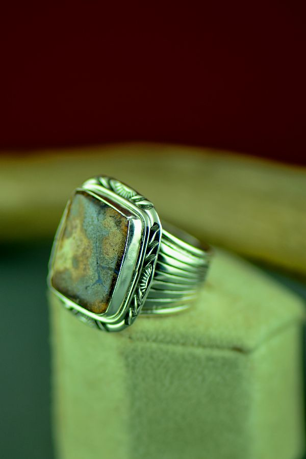 Navajo Sterling Silver Australian Boulder Opal Ring by Will Denetdale Size 10 1/2