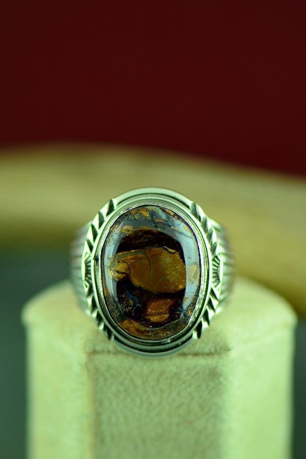 Navajo Sterling Silver Australian Boulder Opal Ring by Will Denetdale Size 12